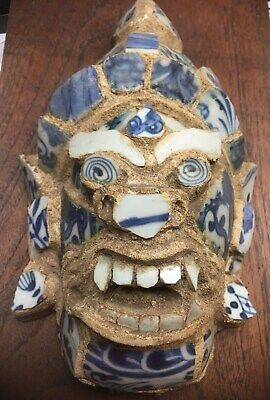 WOW Unusual Antique Oriental Chinese Old Pottery Sculpture /of a dragon foo dog