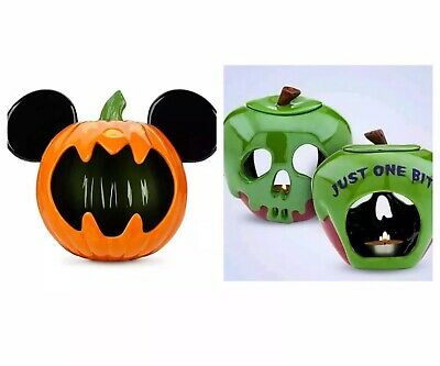 Disney Parks 2019 Exclusive Ceramic Halloween Candy Bowl + Candle Holder Set NIB