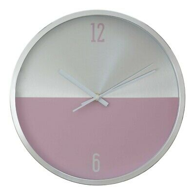 Elko Silver Pink Finish Wall Clock Two Tone Metallic Design For Home Living
