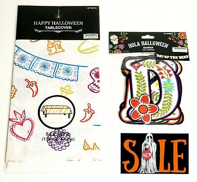 Day Of The Dead Halloween Party Set NEW Table Cover & Banner Dia De Los Muertos