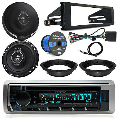 "98-13 Harley Kenwood CD Receiver, 6.5"" Speakers, Speaker Wire,Touring Dash Kit"