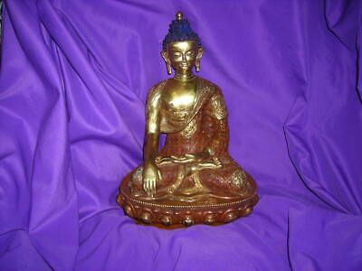 Ornate Vintage/Antique Signed 24Kt. Gold Gilt Tibetan Bronze Buddha 13X9X7