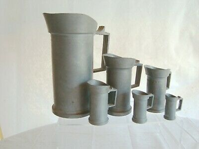 Antique Pewter Measuring Pitchers Mugs Cups Set Of 6 Germany