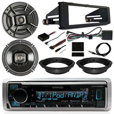 "98-13 Harley Kit: Kenwood Receiver, Polk 6.5"" Speakers, Thumb Controls, Dash Kit"