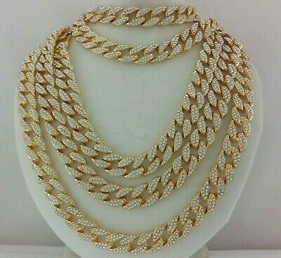 14k Gold Silver Iced Miami Cuban Link Chain Choker Necklace Anklet Bracelet 15mm