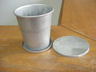 Vintage Aluminum Collapsible Travel Cup With Cover