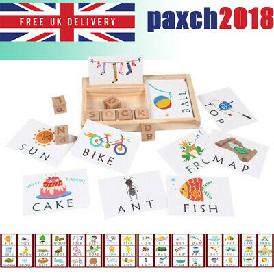 Wooden English Spelling Alphabet Letter Game Toy Early Learning Educational UK