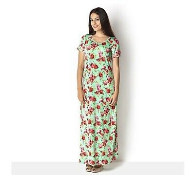 Kim And Co Maxi  Dress Mint Green Floral Roses  Size Large  Rrp£63 NWT