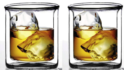 (2) Whiskey Old Fashioned Glasses Double-Wall Insulated Tumbler 9oz Double Rocks