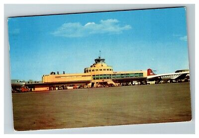 Chicago IL Midway Airport Tower, Ramp, Northwest Plane c1953 Postcard E19