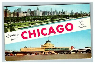 Greetings from Chicago Skyline & Midway Airport Tower Planes c1960 Postcard E19