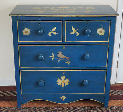 Antique Pine Furniture. Beautiful Hand Painted Victorian Pine Chest Of Drawers.
