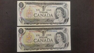Lot of Two ( One Dollar ) Bank Notes from Canada. 1973