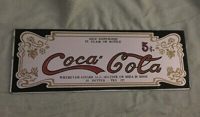 """Vintage Rare CocaCola Mirror Sign: 5 Cents! 12"""" Long, Little Over 4"""" High"""