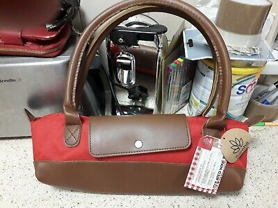 Samba Insulated Wine Bag, Wine Bottle Carrier, Red Fabric & Brown Faux Leather