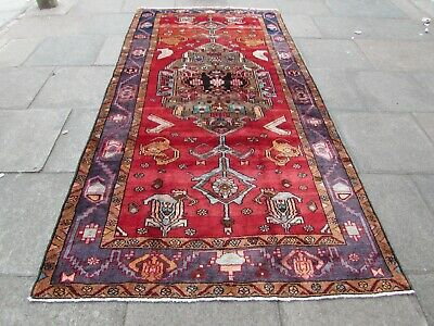 Vintage Hand Made Traditional Rugs Oriental Wool Red Pink Large Rug 318x158cm