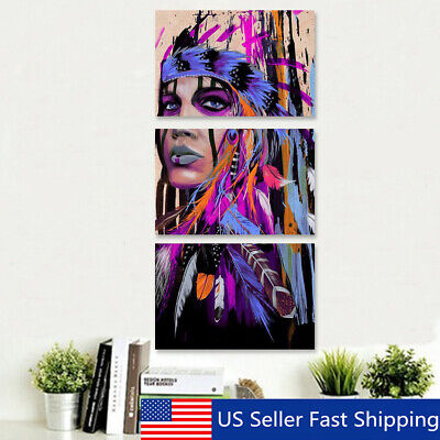 3Pcs Abstract Indian Women Oil Painting Canvas Print Picture Home Decor