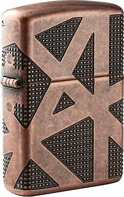 Zippo Geometric 360 Design Antique Copper Armor Windproof Lighter 49036 NEW COOL