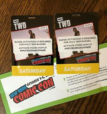 2 NYCC 2019 New York Comic Con TWO SATURDAY Tickets Passes - Free Shipping