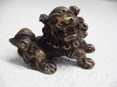 Vintage or Antique Chinese Metal Foo Dog Statue Figurine With A Mark