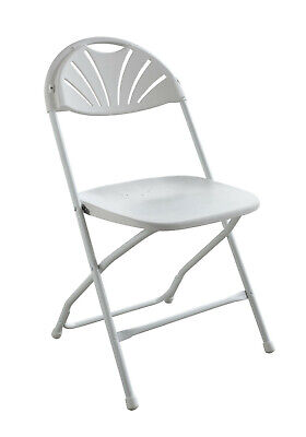 25 Commercial Plastic Folding Chairs White Fan Back Seat Party Wedding Chair