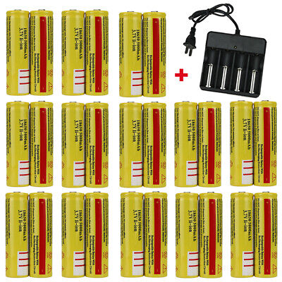 Lot 18650 Battery 5000mAh 3.7V Li-ion Rechargeable & Charger For LED Flashlight