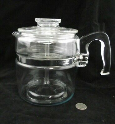 Pyrex  Flameware Percolator Coffee  Pot 7756 B 6 Cups Complete