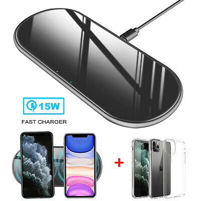 For iPhone 11 Pro Max 15W Qi Wireless Fast Charger Charging Pad+Clear Case Cover