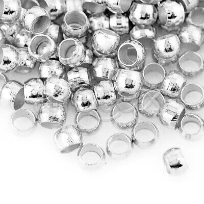 20g(1200pcs) Crimp End Beads Round Silver Jewelry Making 2x2mm Hot FBCP0002