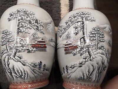 A Pair Chinese Antique Vase Painting Snow