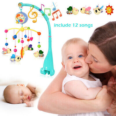 Baby Musical Bed Crib Cot Mobile Stars Dreams Projection Nusery Lullaby Toys
