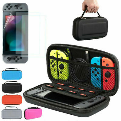 Hard EVA Shell Carrying Bag Case + 3x Screen Protector Film For Nintendo Switch