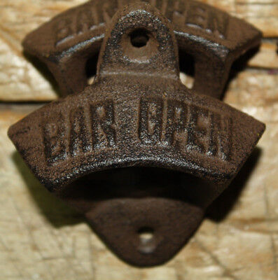 1 Rustic Cast Iron BAR OPEN Vintage Style Wall Mount Beer Bottle Opener Here