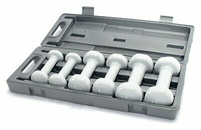 Opti 6 Pice Circular Fixed Vinyl Dumbbell Set with Storage Case - 6kg