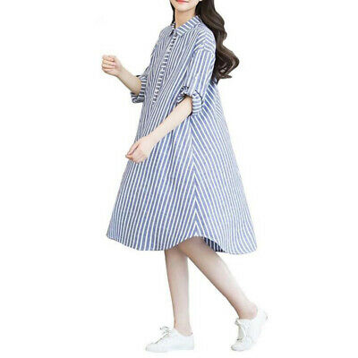 Summer Womens Dress Maternity Stripe Korean Casual Buttons Loose Midi DressUP