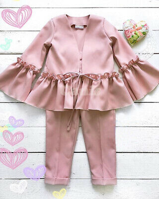 Kids Baby Girls Autumn Winter Clothes Formal Ruffle Jacket Coat+Pants Outfit Set