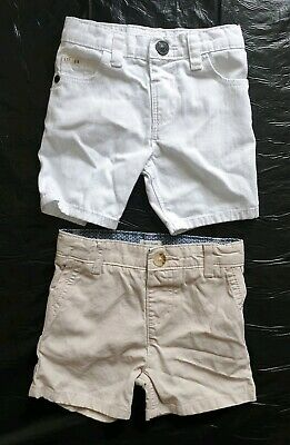 Two Pairs Of Baby Boy Jean Shorts, Age 3-6 Months, By River Island In Vgc