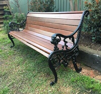 Cast Iron Outdoor Garden Bench Seat Park Antique Vintage Lions Head