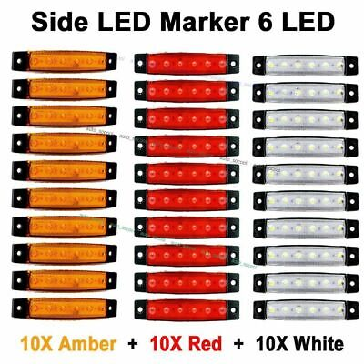 30 Pcs Red White Orange 12v 6 Led Side Marker Indicator Lights Truck Trailer Bus