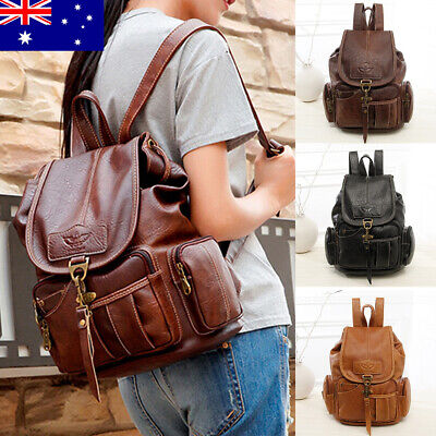 AU Women PU Leather School Backpack College Shoulder Bag Rucksack Travel Handbag