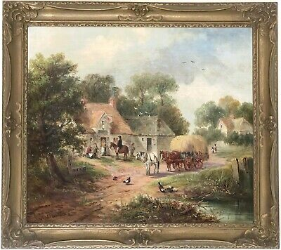 Village Landscape Antique Oil Painting by William George Meadows (c.1825–1907)