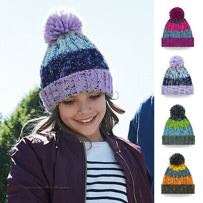 Kids Children Winter Bobble Hat Boys Girls Cable Knit Woolly Beanie 6 - 12 Years