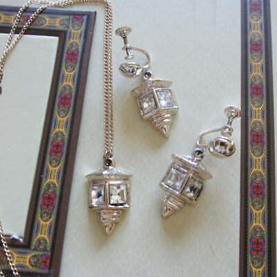"""Crystal LANTERN Screw Back EARRINGS & PENDANT 18"""" Necklace 1950's New Old Stock"""