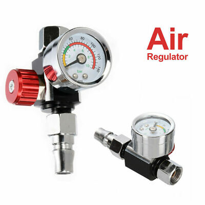 "1/4"" Mini Air Regulators Valve Tools Pressure Gauge Tail w/ Nozzle For Spray Gun"