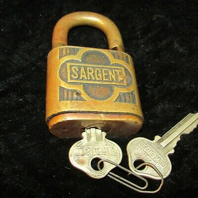 Vintage Sargent Padlock Lock With 2 Keys-Good Condition-Works !!