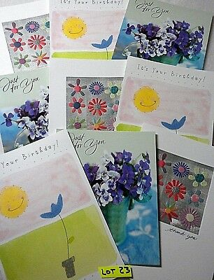 9 Assorted Birthday Thinking of you Greeting Cards /& Envelope NEW Thank You