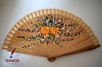 Vintage Chinese Handpainted Bamboo Fan