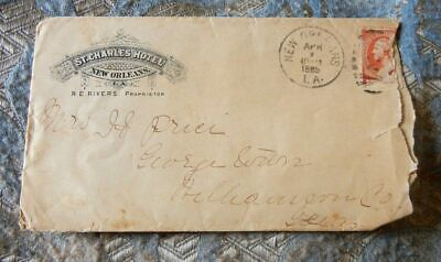 1885 St. Charles Hotel - New Orleans LA Envelope with Graphics