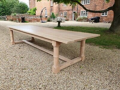 Solid Oak Refectory table. Seats 14