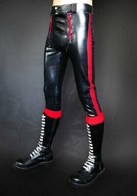 Latex Pants Trouser 100% Rubber Gummi Black with Red Double Zipper Sexy S-XXL